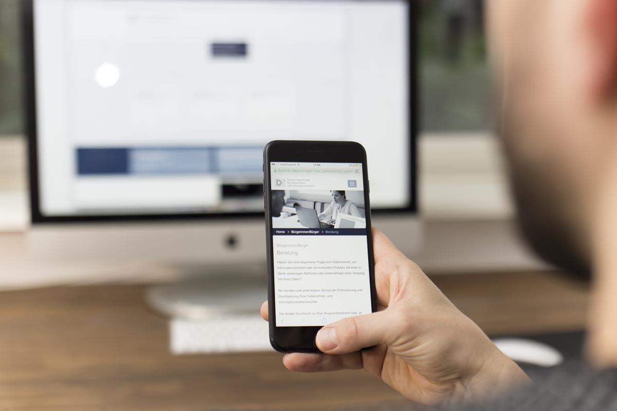 Webdesign für die Website die Berliner Datenschutzbeauftragte